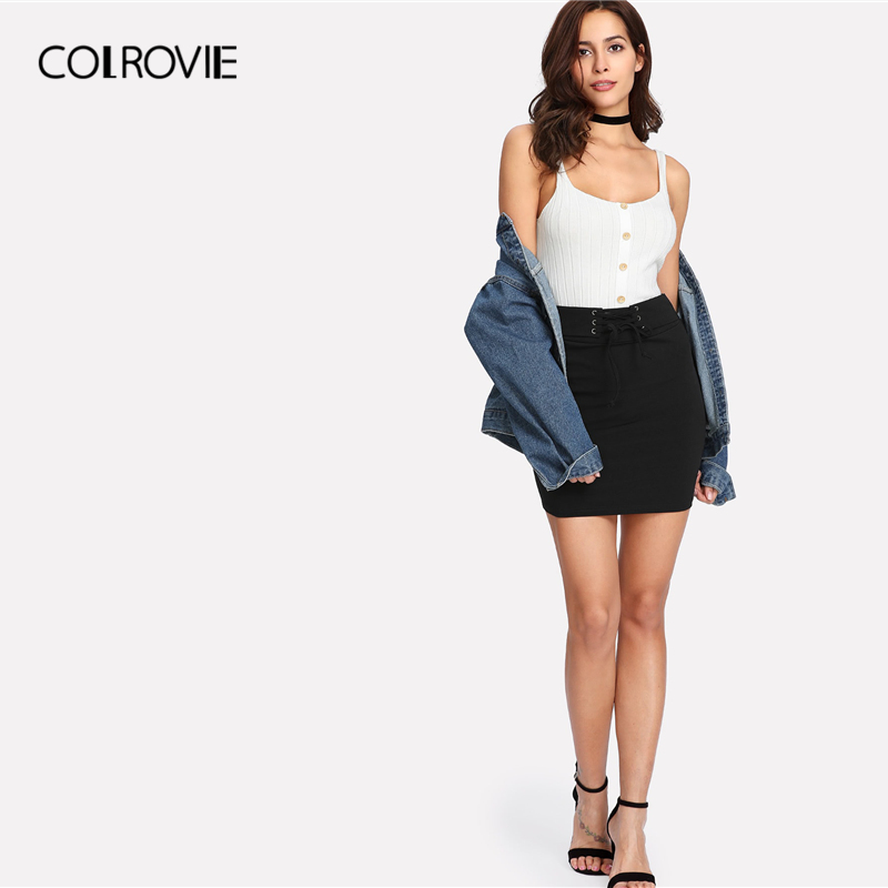 Image 4 - COLROVIE Black Solid Lace Up Waist Bodycon Casual Skirt Women Clothing 2019 Summer Rock Korean Mini Skirt Club Sexy Lady Skirts-in Skirts from Women's Clothing
