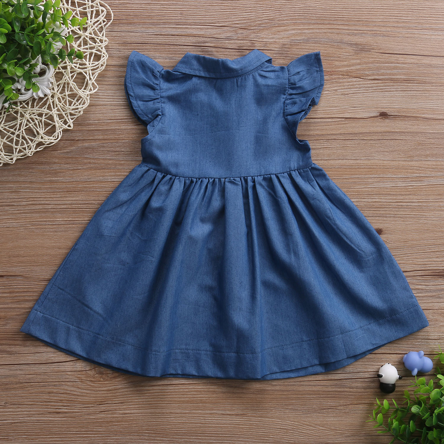 Cute Baby Girls Kid Toddler Denim Dresses Clothes Summer Ruffle