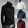 Mens knitted clothing Sweaters Pullovers Men Solid Sweater Male Outerwear Jumper Blusa Masculina Turtleneck Sweaters MQ208