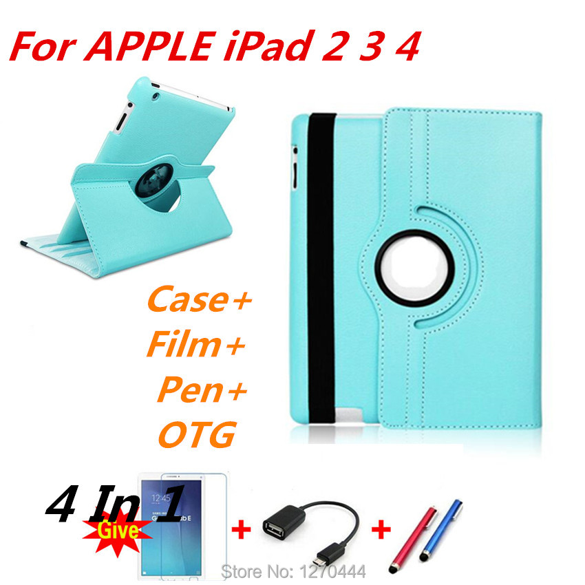 360 Degree Rotating PU Leather Case Cover for apple Ipad 2 3 4 for ipad4 with Retina Smart Stand Magnetic Cover,film and pen+OTG