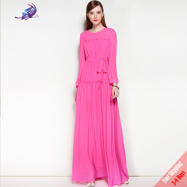 2017 Fashion Autumn Runway Designer Maxi Dress Women s High Quality Full  Sleeve Pink Plain Solid belted Long Dress Free DHL UPS 7b4619e49