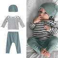 Baby Infant Toddler Kids Long Sleeve Striped CottonTops Pants Hat Clothes Outfit Baby Clothing Set Spring Summer Fashion 2017