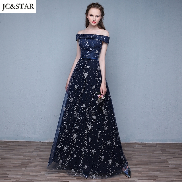 JC&STAR Women Long Evening Dress 2017 Lace Back Tulle with Star ...