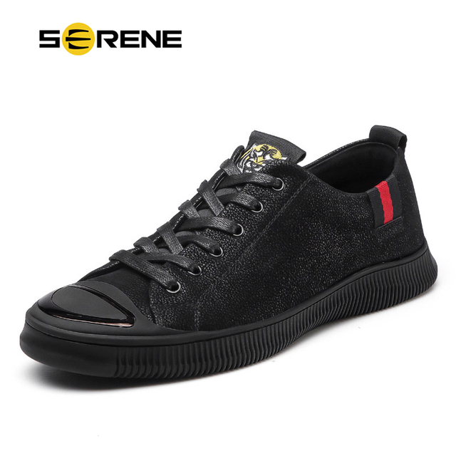 SERENE Brand Fashion Shoes Men Tiger 2018 Trending Casual Leather Sneakers  Male High Top Black Rubber Lace Up Hot Sale Mens Shoe d0329692ef39