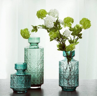 American Country Blue Creative Embossed Glass Vase Personality Fashion Transparent Glass Vase Living Room Decorative Vase Q285