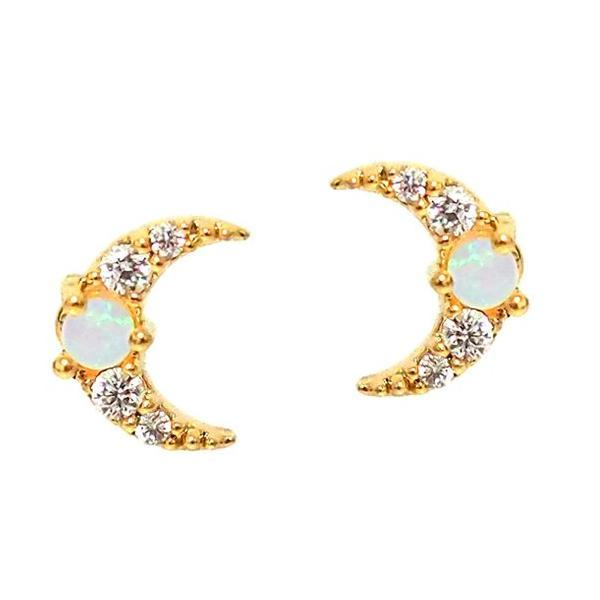Gold Vermeil stud 925 Sterling Silver cz opal paved tiny moon star cute lovely earring