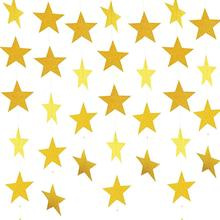METABLE 5 Pack  50ft Star Paper Garland Bunting Banner Hanging Decoration for Party Decoration, 3.7inches (Gold)
