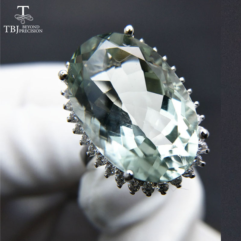 TBJ Big green amethyst quartz gemstone Party eyes catching Ring in 925 sliver as birthday wedding