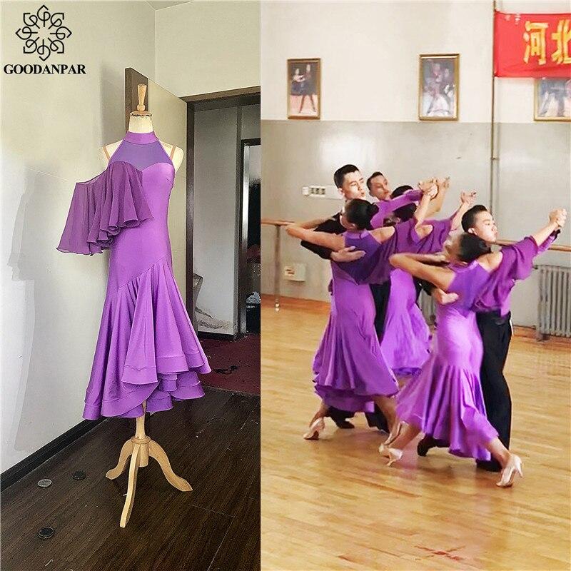 GOODANPAR Stretch Lycra Mesh Ballroom Dance Practice Dress Women With Bodysuit Bra Cups Standard Stage Dance Wear