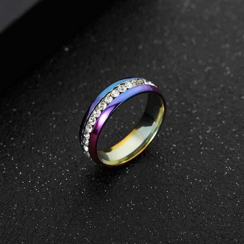 Anillos de acero inoxidable de alta calidad para hombres y mujeres anillo de matrimonio de moda accesorios de joyería anillo de diamantes de imitación joyas brillantes