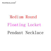 Pandulaso Medium Floating Round Locket Pendant Necklaces Original Charm Silver Necklaces For Women DIY Jewelry Accessories