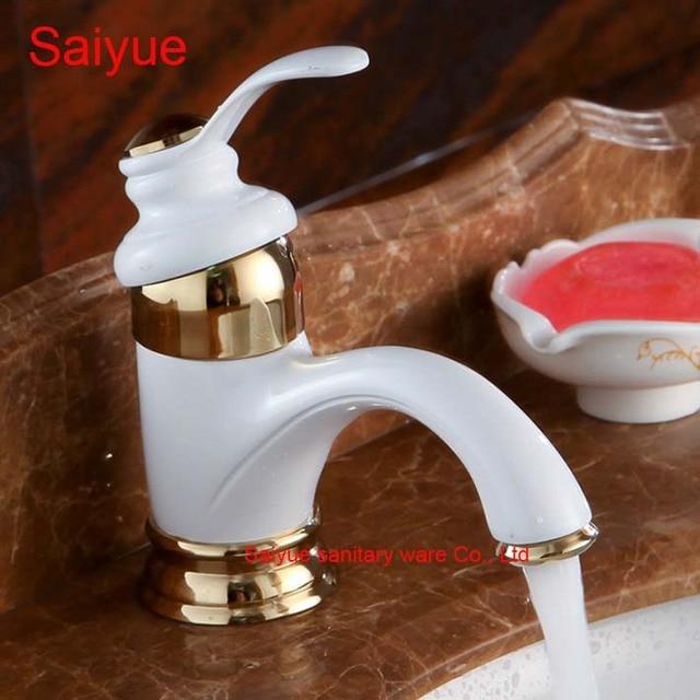 Ganze Und Retro Eleganten Luxus Weiß Gold Malerei Farbe Messing Deck  Montieren Waschbecken Waschbecken Wasserhahn Badezimmer