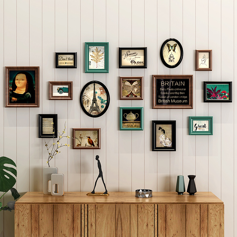 16pcs set Classical Wooden Wall Hanging Photo Frame Rectangle And Round Picture Frame Suit Home Decor