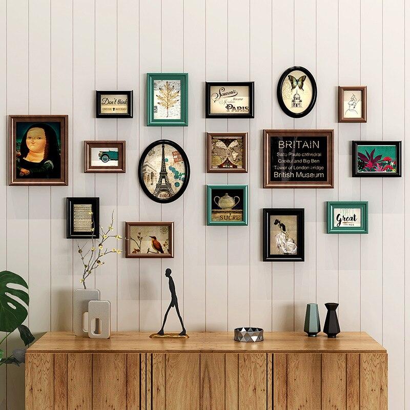 16 قطعة/المجموعة الكلاسيكية خشبية جدار إطار بلاستيك للصور قابل للتعليق مستطيل و جولة الصورة إطار دعوى المنزل ديكور إطار صور s مزيج-في إطار من المنزل والحديقة على  مجموعة 1
