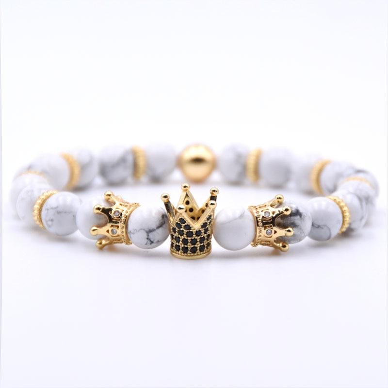 Gold Crown Bracelet Beads Bracelets For Women Jewelry Men Pulseira Masculina Feminina Erkek Bileklik Hombre Friends Bangles 2018