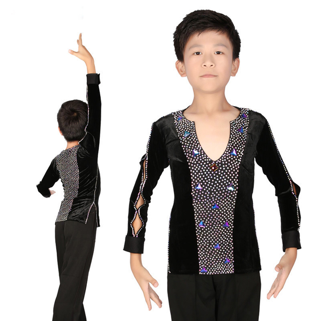 New Style Children Boys Ballroom Latin Dance Tops Long Sleeve V Collar Professional Cha Cha Performance Latino Dancing Wear