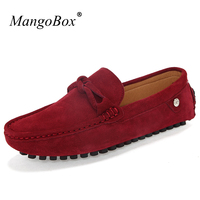 MangoBox Split Leather Loafers Sneakers Man Anti Slip Drive Shoes For Men Slip On Flat Shoes