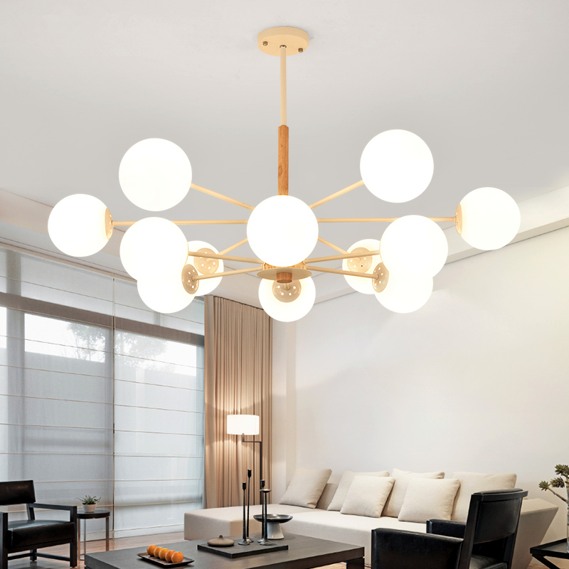 Chandeliers Post-modern Led Chandelier Wooden Bedroom Suspended Lighting Loft Novelty Fixtures Nordic Luminaires Living Room Hanging Lights