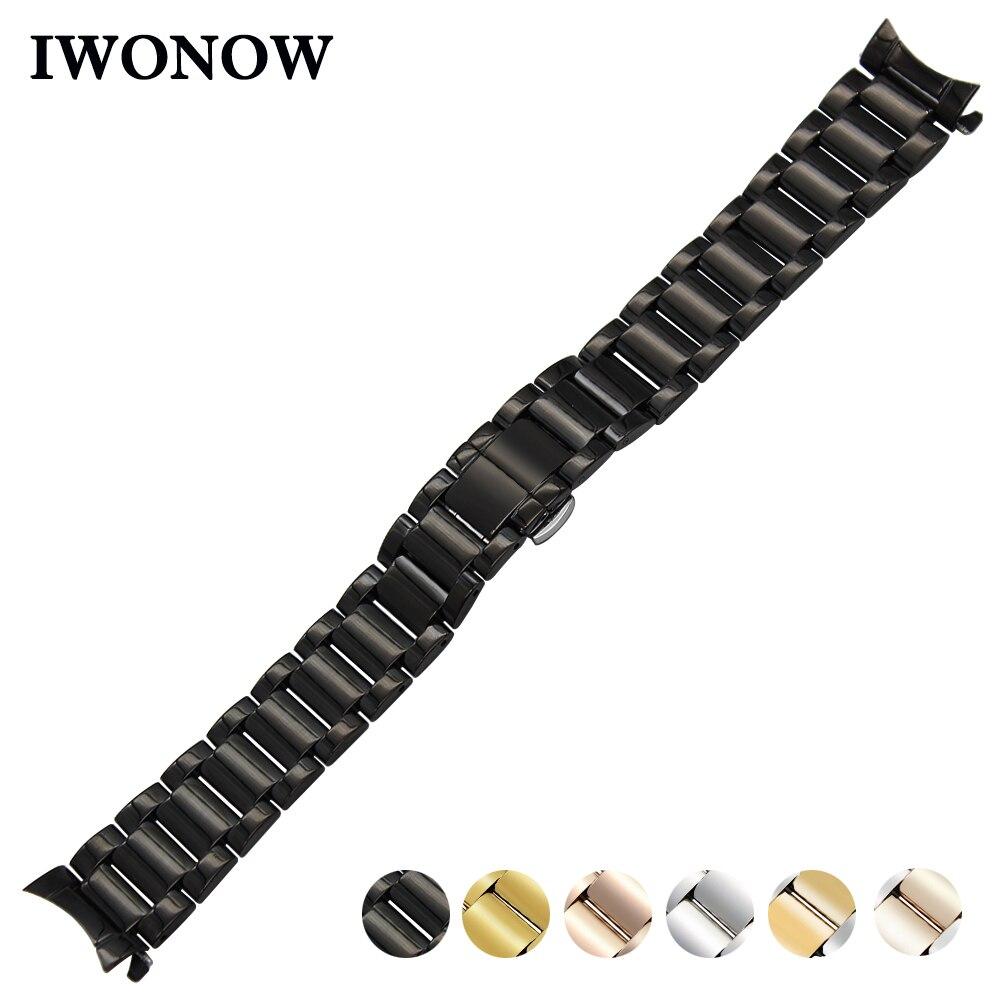 Stainless Steel Watch Band 18mm 20mm 22mm For Baume & Mercier Curved End Strap Butterfly Buckle Belt Wrist Bracelet Black Silver