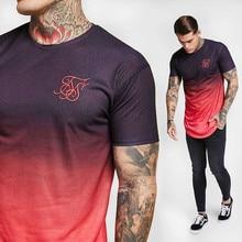 New  summer cotton silk siksilk T-shirt gradient print T-shirt short-sleeved hip hop T-shirt shirt men's Longline T-shirt with недорого