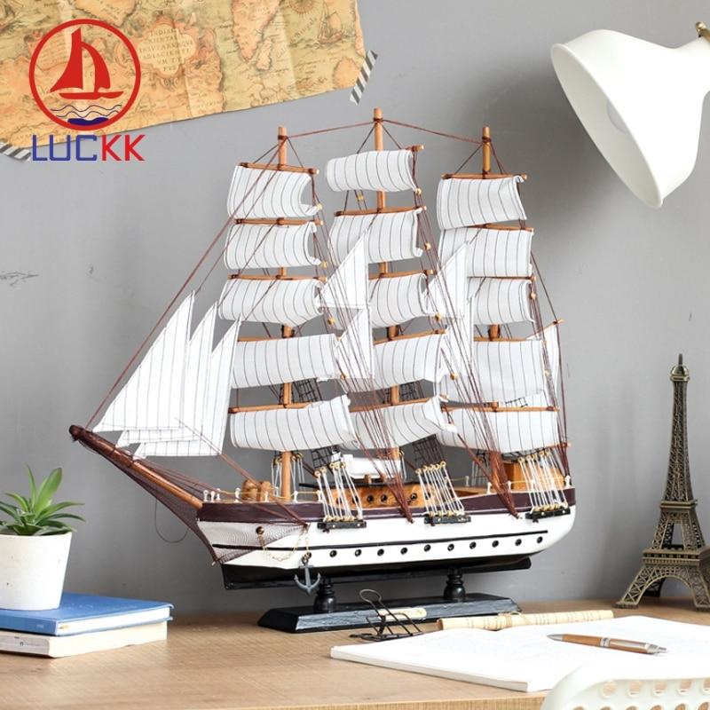 LUCKK 60CM Mediterranean Sailing Boat Wooden Model Handmade Retro Ship Figurine Home Interior Decoration Craft Nautical Ornament