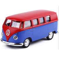 High Simulation 1 36 Car Model Toy Volkswagen Van Mixed Two Colors Retro Alloy Bus Pull
