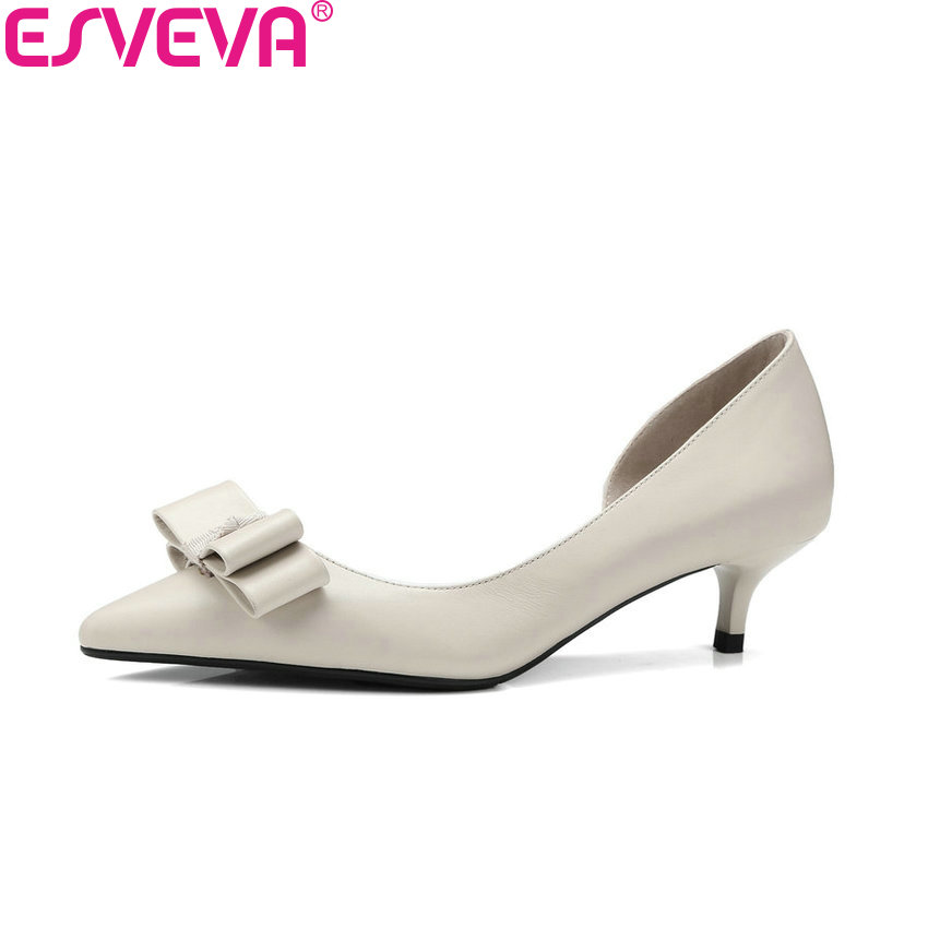 ESVEVA 2018 Women Pumps Butterfly-knot Cow Leather PU Spring Thin Med Heels Autumn Pointed Toe Slip on Ladies Shoes Size 34-41 2017 spring women retro pumps solid slip on sweet butterfly knot round toe med square thick heels shallow female shoes plus size
