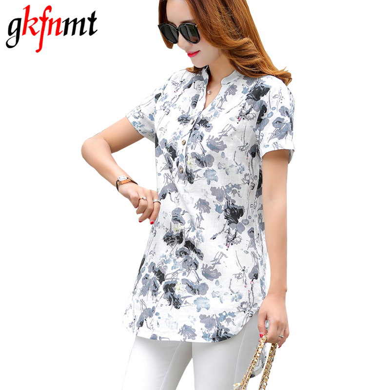 2017 Summer Style Floral Print Cotton Linen Vintage Blouses Short Sleeve V Neck Button Shirt Women