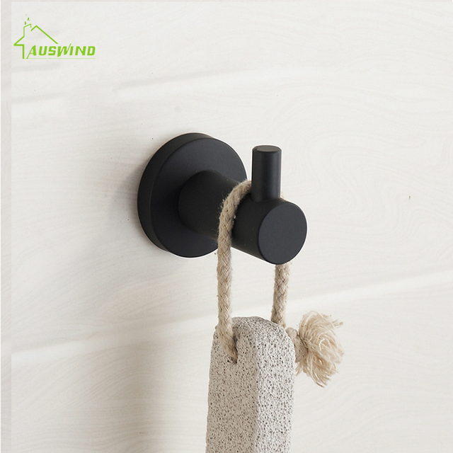 New Modern Black Rubber Paint Clothes Hook Brushed 304 Stainless Steel Coat Towel Mounting