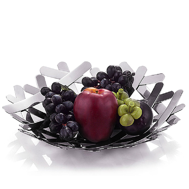 Decorative Large Stainless Steel Fruit Bowl Creative Fashion Candy Dish Fruits Basket Basin Package Mail Free
