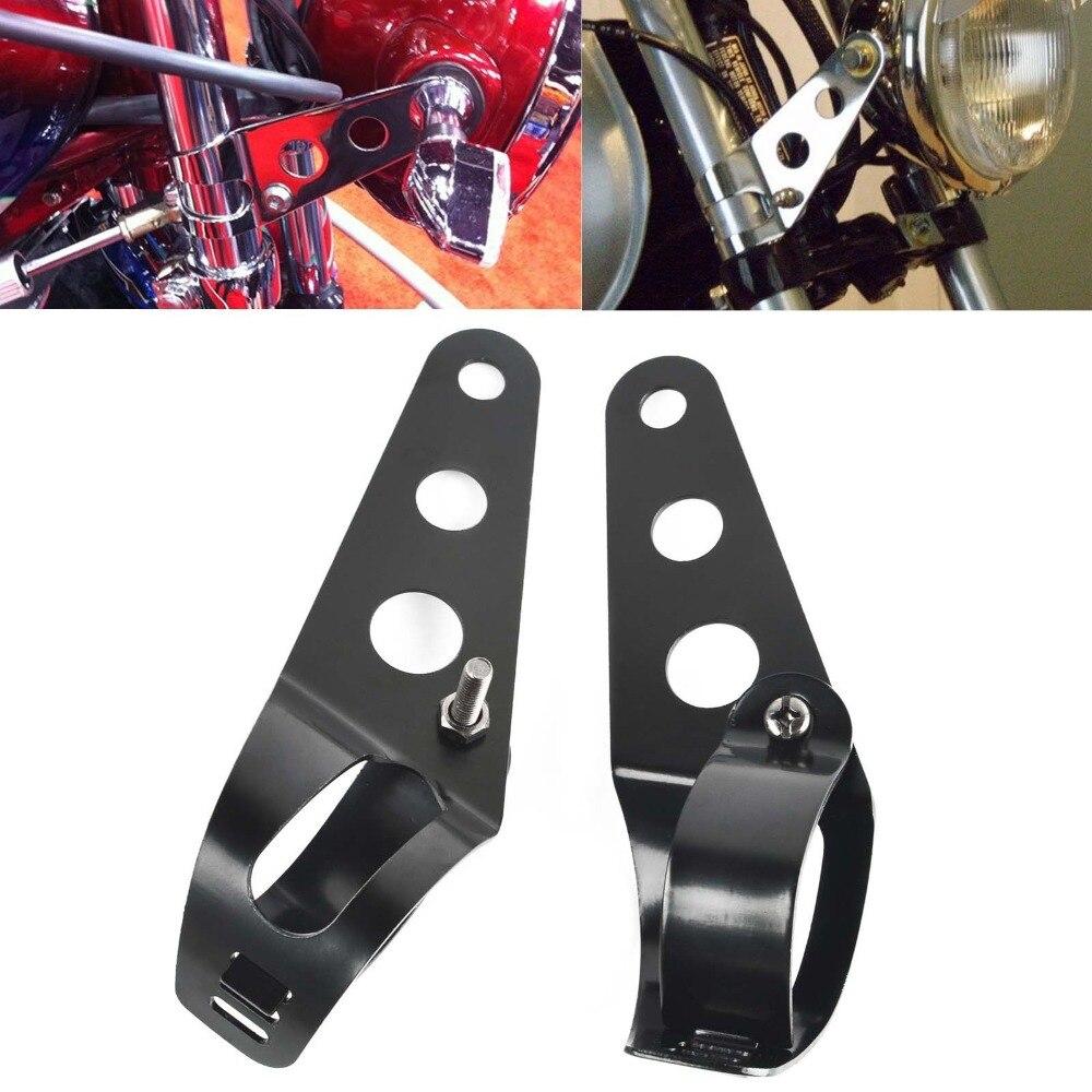 Universal Black 28-45mm Motorbike Motorcycles Headlight Headlamp Light Mount Holder Bracket For Harley Bobber Cafe Racer Chopper