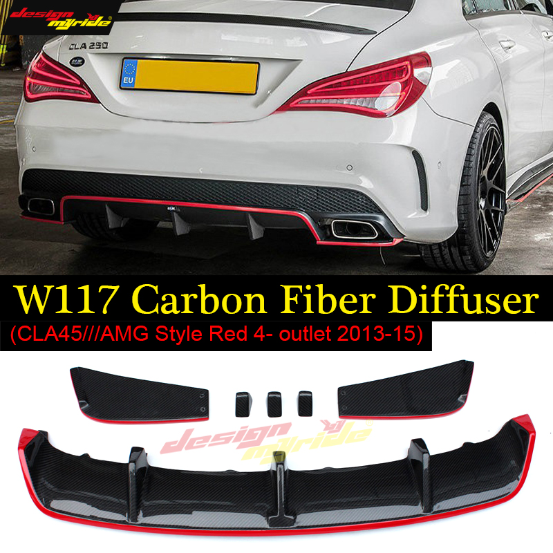 For Mercedes Benz CLA W117 CLA180 CLA200 CLA250 CLA45 Carbon Fiber Red Line Rear Diffuser CLA45 AMG Package 2013 -2015 Presen mercedes cla w117 amg style replacement cf rear trunk wing spoiler for benz 2013 cla 180 cla200 cla 250