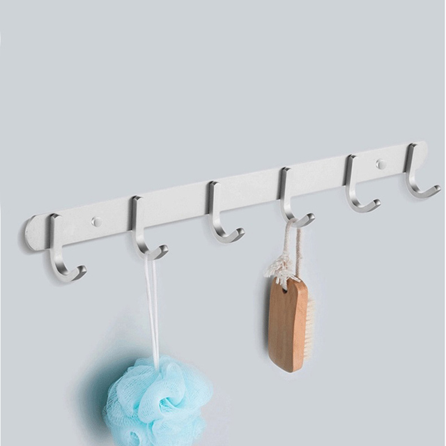 Contemporary 6 Hooks Stainless Steel Coat Hanger Wall Mounted Robe Rack  Bathroom Towel Rack Storage Holders
