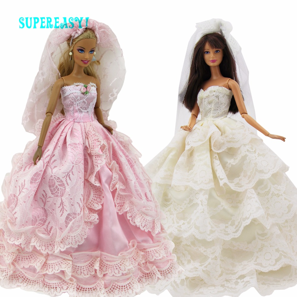 Handmade 2 Sets Dresses Lace Wedding Party Gown Pink Veil Evening Party Skirt Clothes For Barbie Doll Dollhouse Accessories Toys doll wedding dress 100% handmade warm red luxury crystal bride wedding doll big trailing evening gown for barbie doll