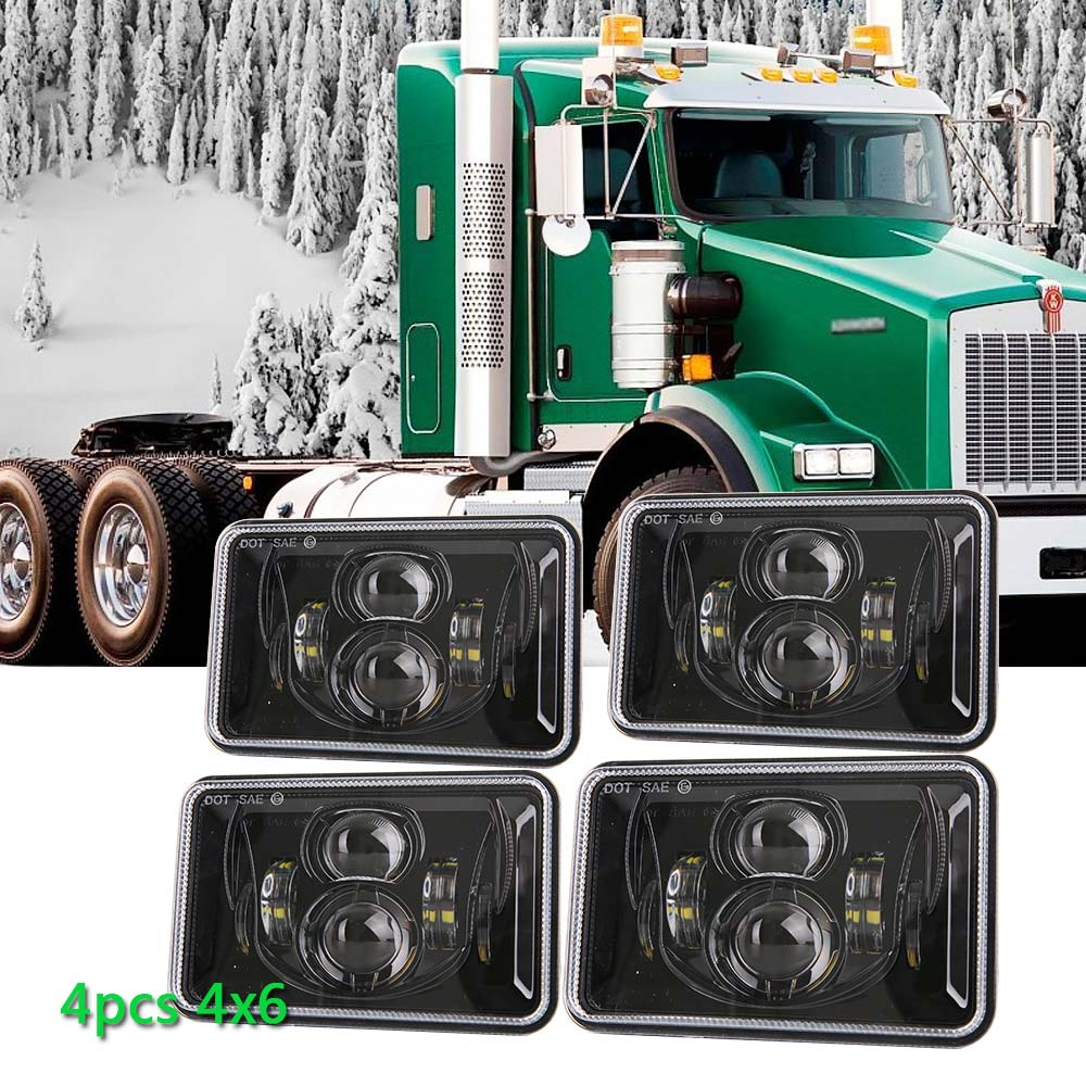 4pcs 4x6 inch Rectangular Projector LED Headlights Sealed For Peterbilt Kenworth T800 T400 T600 W900B/L Trucks