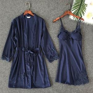 Image 1 - ZOOLIM Frauen Nachtwäsche Sexy Spitze Robe & Kleid Sets Schlaf Lounge Nachtwäsche Bademantel Nacht Kleid Robe Pyjamas mit Brust Pads