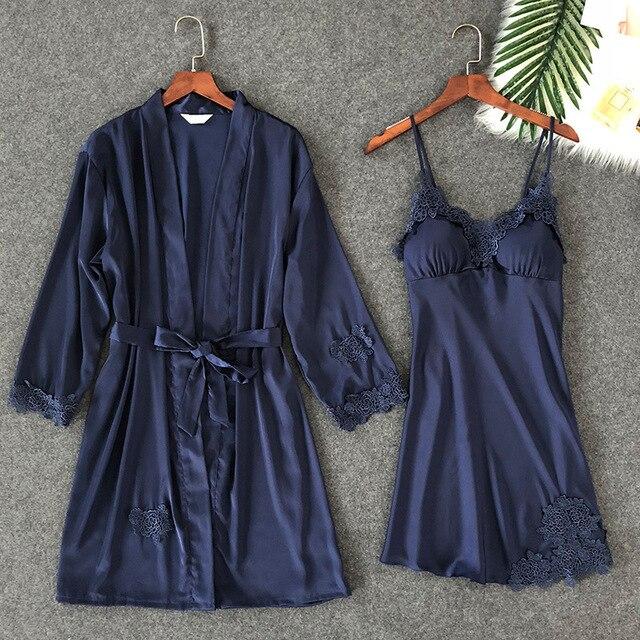 ZOOLIM נשים הלבשת סקסי תחרה Robe & שמלת סטי שינה טרקלין Nightwear חלוק לילה שמלת חלוק פיג מה עם רפידות חזה