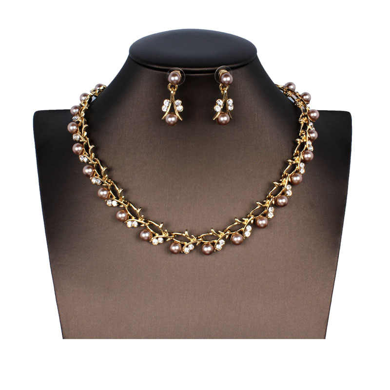 jiayijiaduo Classic Imitation Pearl Jewelry Set for Women's Wedding Jewelry Accessories Necklace Earrings Set dropshipping