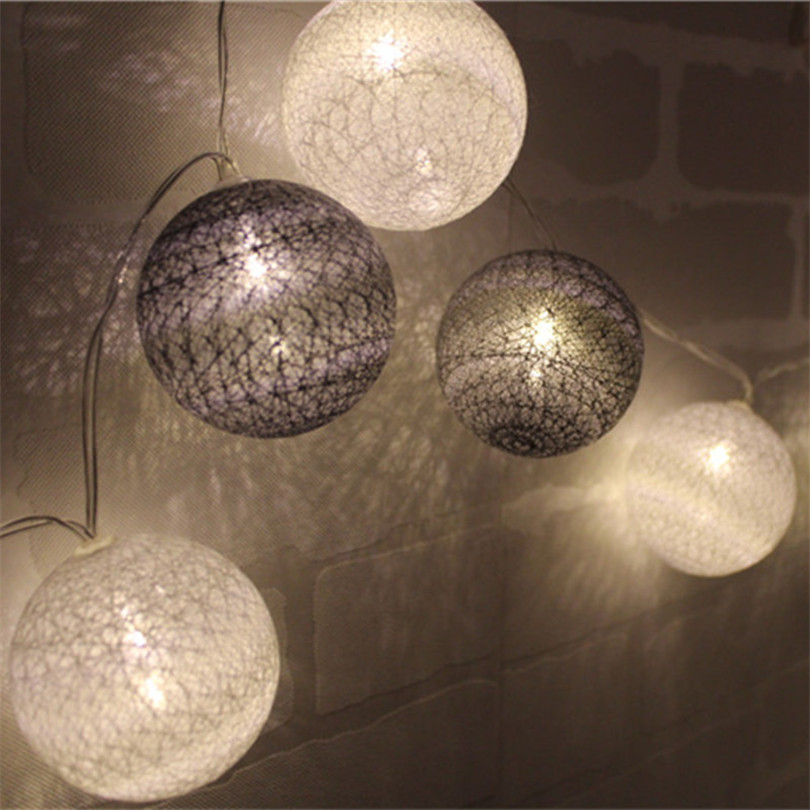 Trecaan Ctton Ball String Light For Xmas Feast Table