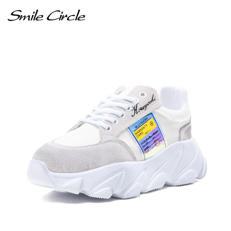2019 Transpirable Cuña Zapatillas amarillo Sonrisa blanco Gris Mujeres Plataforma Círculo Oscuro Cuero Plano Genuino Las De Primavera Deporte Zapatos Mujer Casual Encaje Bnqa5qPw