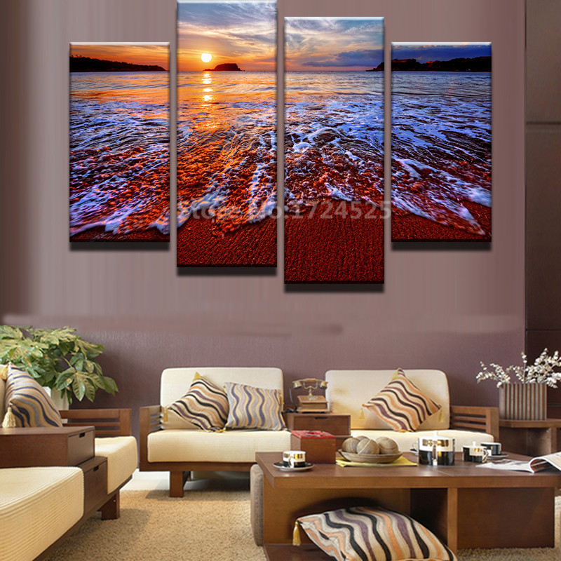 2017 Sale New No Frame 4pcs Home Decorative Paintings On Canvas Abstract Sunset Beach Living Room Painting Modular Decoration