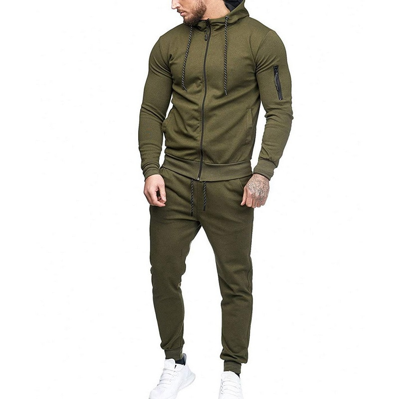 HTB1 Iu9ayjrK1RjSsplq6xHmVXaA HEFLASHOR Men Drawstring Sportwear Set Fashion Solid Sweatshirt&Pants Tracksuit Casual Zipper Hoodies Outwear Clothes 2019