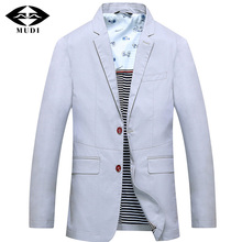 MUDI Blazers 2017 Men's High Quality Cool Formal Bridegroom Blazers Male Linen Wedding Suits With Two Colour Light Gray And Blue