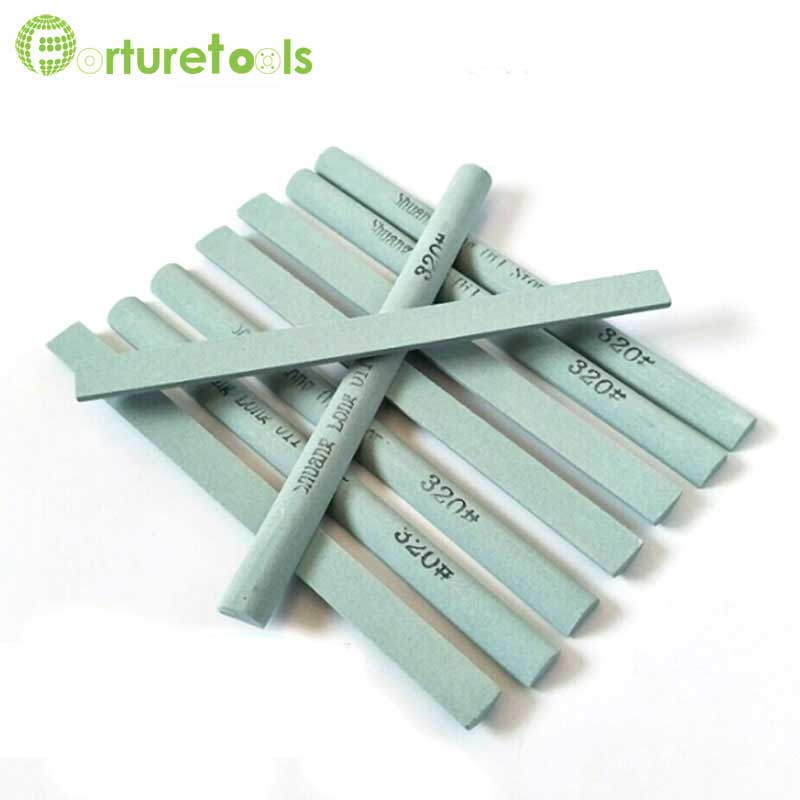 10 Pieces Half Round Sharpening Stone Green Silicon Carbide Honing Stone Abrasive Stick Ys004
