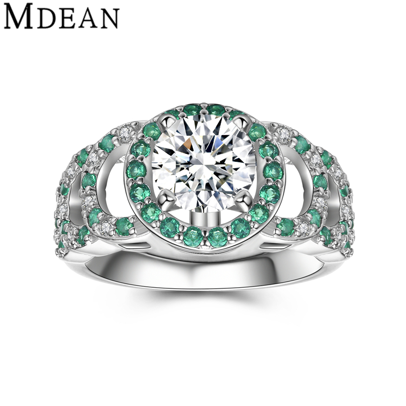MDEAN Genuine 925 Sterling Silver Solid Jewelry Pure CZ Diamond Emerald  Engagement Rings for Women Wedding