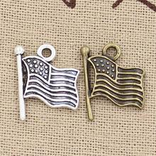 99Cents 8pcs Charms USA flag 12mm Hollow Antique charms,pendant fit,Vintage Tibetan Silver,DIY bracelet necklace(China)