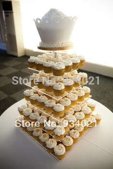 Free Shipping 6 Tier Square Acrylic Cake Stand, Plexiglass Cup Cake Holder
