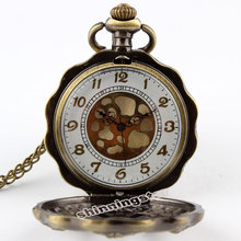 Fashion Vintage Bronze Sunflower Full Steel Steampunk Pocket Watch Hollow Analog Skeleton Engraved Lotus Necklace Pocket Watch цена