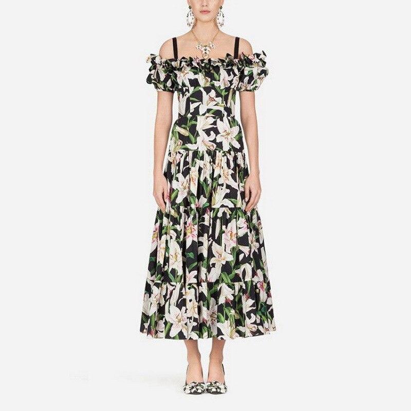 Summer 2019 Lily Printed off shoulder Long Dress 190702LU02