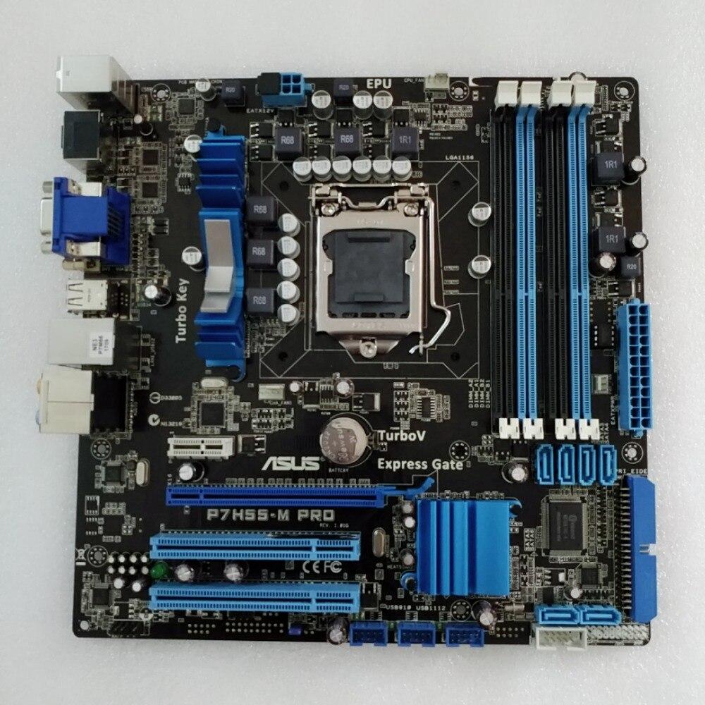 D'origine carte mère pour ASUS P7H55-M Pro DDR3 LGA 1156 pour I3 I5 I7 cpu USB2.0 16 GB H55 Bureau motherborad Livraison gratuite